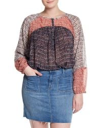 Lucky Brand - Mixed Print Woven Blouse (plus Size) - Lyst