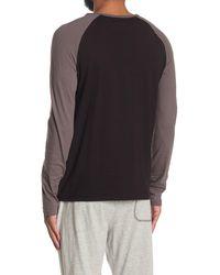 Mister Long Sleeve Pocket Lounge Henley T-shirt - Black