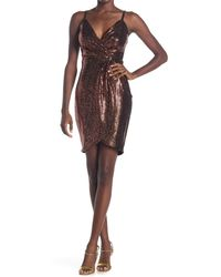 Guess - Metallic Faux Wrap Dress - Lyst