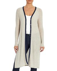 Three Dots Contrast Trim Button Front Cardigan - Natural