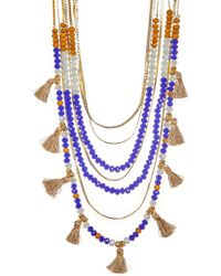 Jessica Simpson - Crystal Bead & Tassel Multi Row Necklace - Lyst