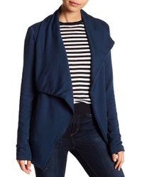 Heather by Bordeaux Fleece Moto Jacket - Blue