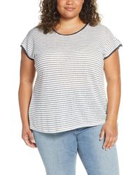 Bobeau Therese Scooped Neck Tee (plus Size) - Blue