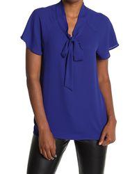 Pleione Short Sleeve Tie Neck Blouse - Blue