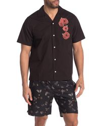 Saturdays NYC Canty Opium Floral Embroidered Shirt - Black
