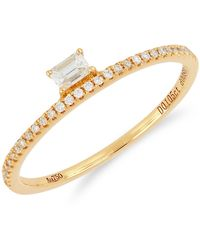 Bony Levy - 18k Rose Gold Radiant & Round Diamond Detail Stackable Ring - Lyst