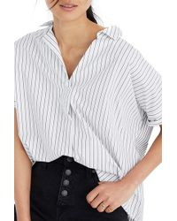 Madewell Courier Stripe Play Button Back Top - White