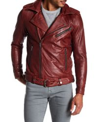 Lindbergh - Worn Look Leather Biker Jacket - Lyst
