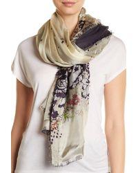 Roffe Accessories | Frayed Trim Print Silk Blend Wrap Scarf | Lyst