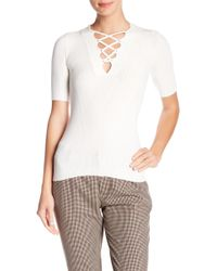 Minnie Rose - Ribbed Lace-up Neck Tee - Lyst