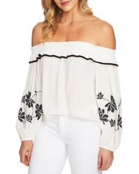 71965b441f81ec Lyst - Cece By Cynthia Steffe Off-the-shoulder Embroidered Blouse in ...