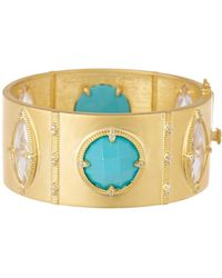 Freida Rothman - 14k Yellow Gold Plated Sterling Silver Amazonian Allure Turquoise & Cz Hinge Bangle - Lyst