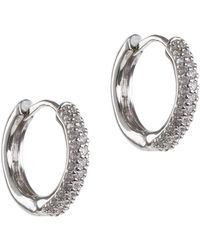 CZ by Kenneth Jay Lane - Cz Accented Mini Hoop Earrings - Lyst