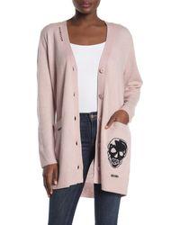 Skull Cashmere Zariah Wool & Cashmere Skull Print Cardigan - Pink
