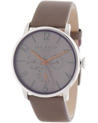 Ted Baker - Men's James Multifunction Leather Strap Watch, 42mm - Lyst