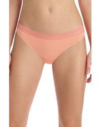 Commando Lace Trim Thong Panty - Natural