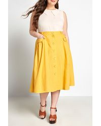 ModCloth Pleated Button Front Midi Skirt - Yellow