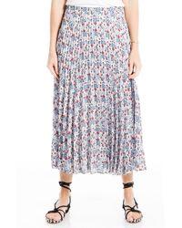 Max Studio Pleated Midi Skirt - Blue