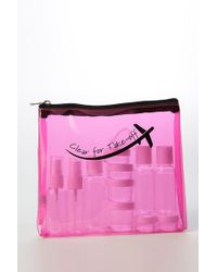 MIAMICA Clear For Take-off Security Case 15-piece Set - Fuchsia - Pink