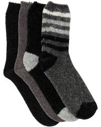 Josie Chenille Cozy Assorted Patterned Crew Socks - Pack Of 4 - Black