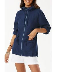 Tommy Bahama Two Palms Linen Anorak - Blue