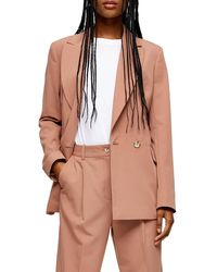 TOPSHOP Kiki Double Breasted Blazer - Brown