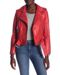Walter Baker Allison Leather Moto Jacket - Red