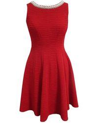 Sandra Darren Sleeveless Blister Knit Fit & Flare Dress - Red