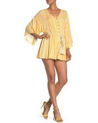Dress Forum Striped Kimono Sleeve Romper - Yellow