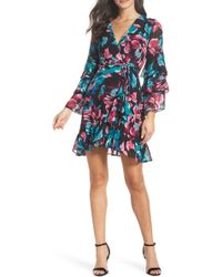 Charles Henry - Wrap Tiered Sleeve Dress - Lyst