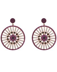Gabi Rielle Venetian Goddess 22k Rose Gold Vermeil Pave Cz Disc Fan Drop Earrings - Metallic