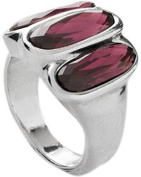 Uno De 50 Triple Bezel Set Faceted Swarovski Crystal Accented Band Ring - Purple