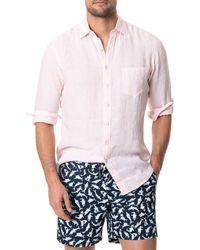 Rodd & Gunn Bay Of Islands Stripe Button-up Linen Shirt - Pink