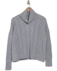 Griffen Cashmere Chunky Cable Knit Cowl Neck Long Sleeve Cashmere Sweater - Gray