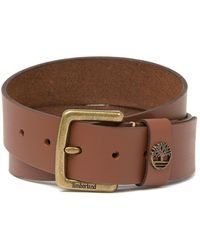 Timberland Square Buckle Leather Belt - Brown