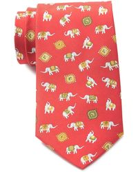 Ferragamo Elephant Print Silk Tie - Red