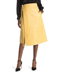 Proenza Schouler Leather Wrap Skirt - Yellow