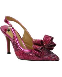 J. Reneé Charise Bow Pointed Toe Slingback Pump - Red