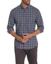Zachary Prell Chang Plaid Print Regular Fit Shirt - Blue