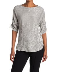 Max Studio Striped Ruched Elbow Sleeve Textured Top - Gray
