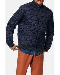 Andrew Marc Bugby Quilted Bomber Jacket - Blue