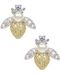 CZ by Kenneth Jay Lane 14k Gold Plated Pave Bee Stud Earrings - Multicolor