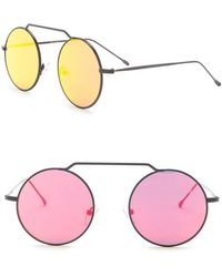 412b88a75e8 Lyst - Betsey Johnson Women s Open Rim Round Sunglasses in Pink