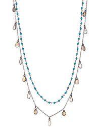 Adornia Double Strand Turquoise & Moonstone Labradorite Doublet Confetti Chain Necklace - Metallic