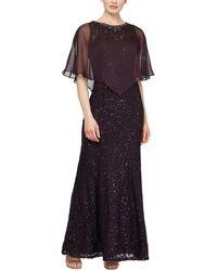 Ignite Sequin Lace Dress With Chiffon Cape - Multicolor