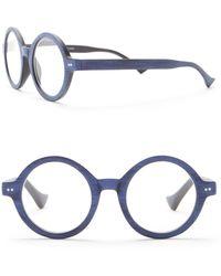 Ellen Tracy Vintage Round Woodlike Reading Glasses - Blue