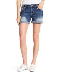 Miss Me - Distressed Fold Cuff Shorts - Lyst
