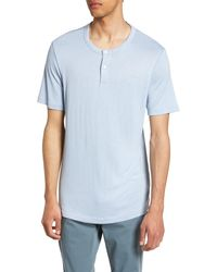 Theory Gaskell Anemone Slim Fit Henley - Blue