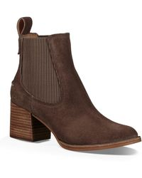 8eb96e68a53 UGG Women's Faye Round Toe Suede Mid-heel Booties in Brown - Lyst