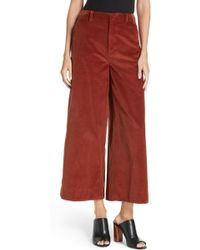 Elizabeth and James - Oakley Crop Wide Leg Corduroy Trousers - Lyst